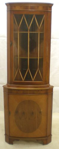 Antique Georgian Style Yew Double Corner Cupboard
